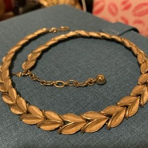 Gold Tone Necklace n Leafs Form by Trifari .